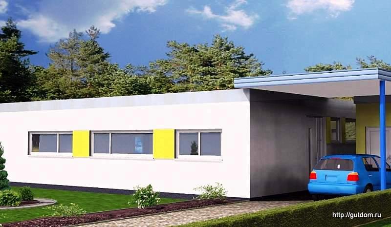 Ytong Проект ГБ57, главный фасад одноэтажного дома из газоблоков Группа компаний Маэстро - МАлоЭтажное СТРОите